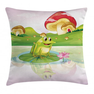 Frog on Water Lily Art Pillow Cover