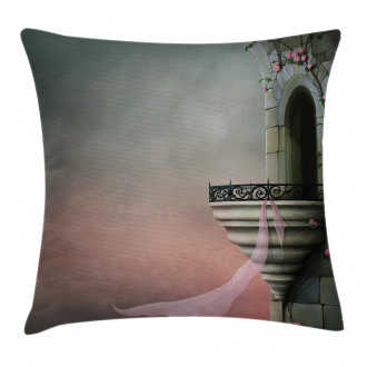 Old Medieval Tower Rose Pillow Cover