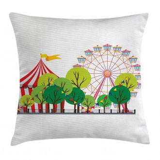 Circus Carnival Scene Pillow Cover