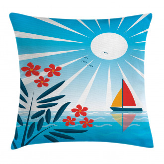 Oleanders and Sailboat Pillow Cover