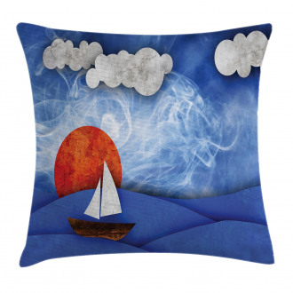 Ship on Misty Waters Pillow Cover