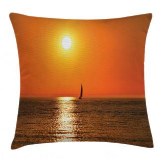 Sailboat Sea Sunrise Pillow Cover