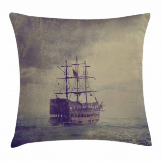 Old Pirate Ship in Sea Pillow Cover