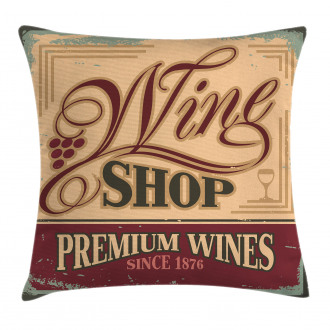 Old Wine Shop Sign Pillow Cover