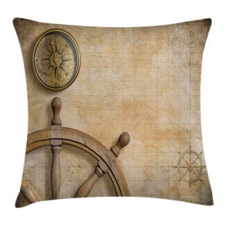 Wooden Wheel Compass Pillow Cover