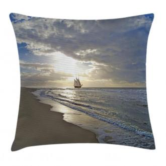 Sailing Ship at Sunset Pillow Cover