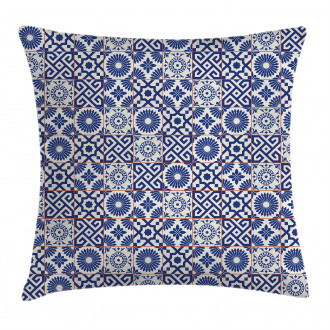 Old Retro Artful Tiles Pillow Cover