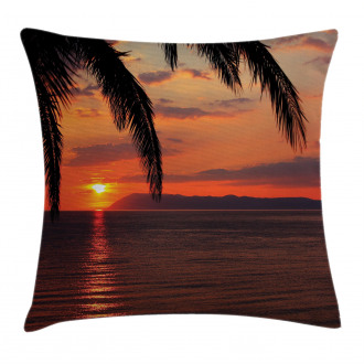 Sunrise on Sea and Palms Pillow Cover