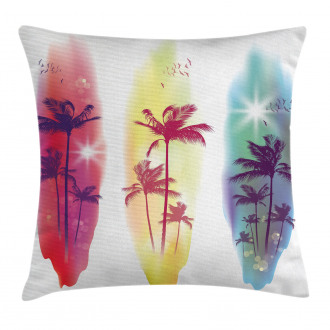 Palm Trees Seagulls Pillow Cover