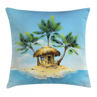 Bungalow with Palm Tree Pillow Cover