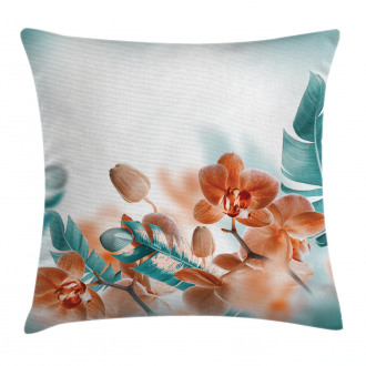Orchids Blossoms Floral Pillow Cover