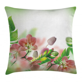 Orchids Blossoms Leaves Pillow Cover