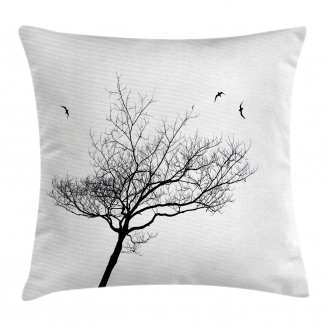 Tree Flying Birds Pillow Cover