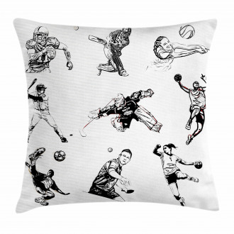 Sports Theme Sketch Pillow Cover
