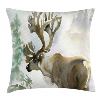 Winter Forest Paint Style Pillow Cover