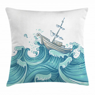 Ship and Ocean Waves Pillow Cover