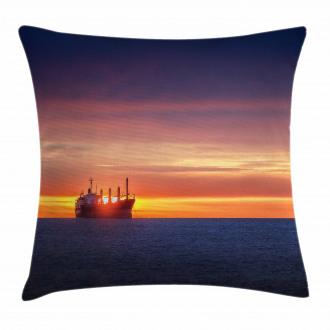 Sunrise over Sea Ship Pillow Cover