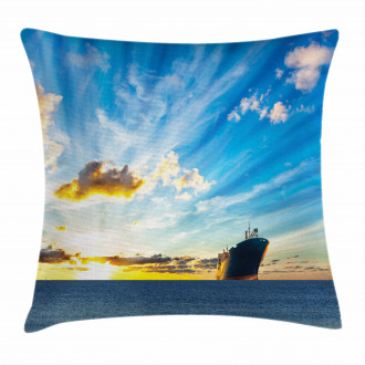 Sea at Sunset Ship Pillow Cover