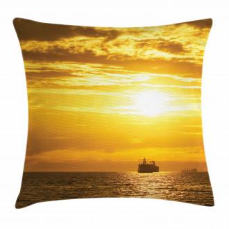 Ship on Ocean Sunrise Pillow Cover