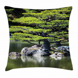 Pine Tree in Lake Pillow Cover