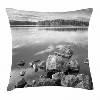 Rock in Lake Shore Pillow Cover
