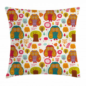 Colorful Owl Woodland Animals Pillow Cover
