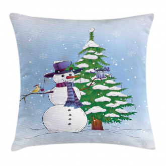 Snowman and Tree Pillow Cover