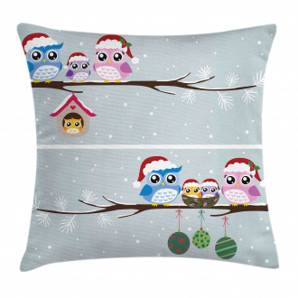 Owls with Santa Hats Pillow Cover