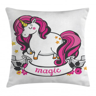 Unicorn with Pink Hair Pillow Cover