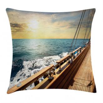 Sailboat Sunset Sea Pillow Cover
