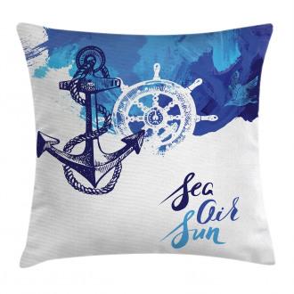 Nautical Wheel Ocean Pillow Cover