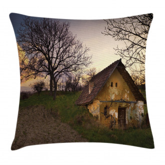 Battered Stone House Pillow Cover