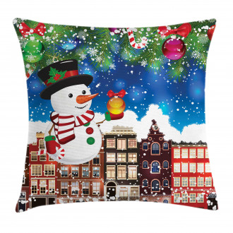 Snowy City Street Pillow Cover
