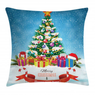 New Year Theme Boxes Pillow Cover