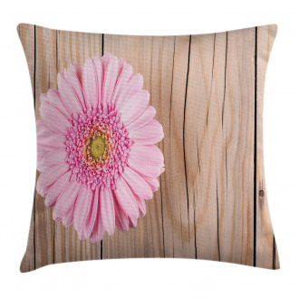Pink Gerber on Wooden Pillow Cover