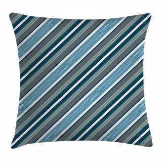 Gray and Blue Diagonal Pillow Cover