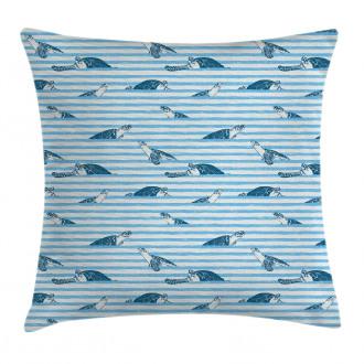 Turtle Blue Aquatic Pillow Cover