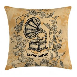 Gramophone Rose Petals Pillow Cover