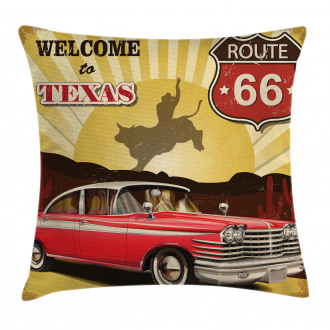 Texas Car Cowboy Quote Pillow Cover