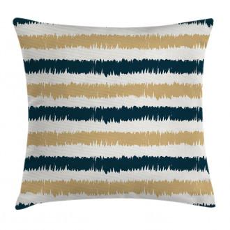 Navy Blue Beige Brush Pillow Cover