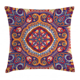 Arabic Flower Rug Pillow Cover