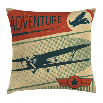 Adventure with Plane Pillow Cover