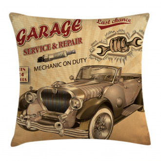 Old Style Car Repair Pillow Cover