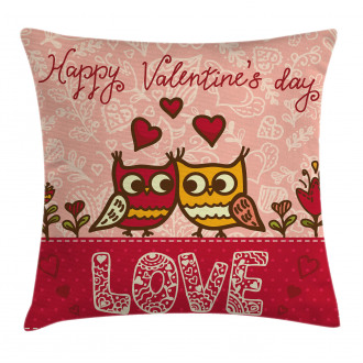 Owls Love Heart Pillow Cover