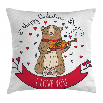 Bear and Violin Pillow Cover
