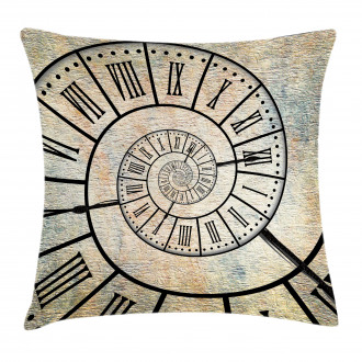 Roman Digit Time Spiral Pillow Cover