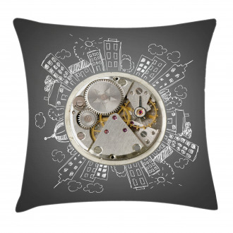 Time Alarm Building Cloud Pillow Cover
