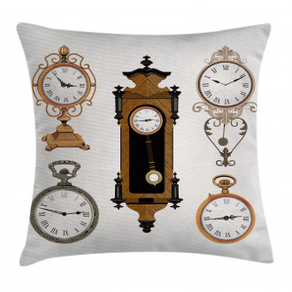Antique Clocks Pattern Pillow Cover