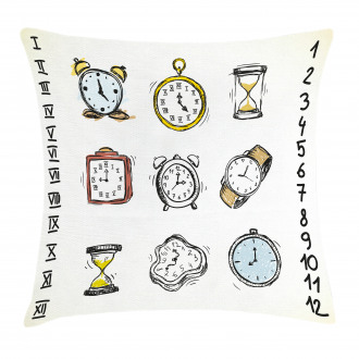 Hand Drawn Vintage Clock Pillow Cover