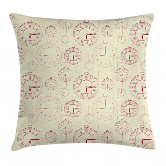 Roman Digits on a Clock Pillow Cover